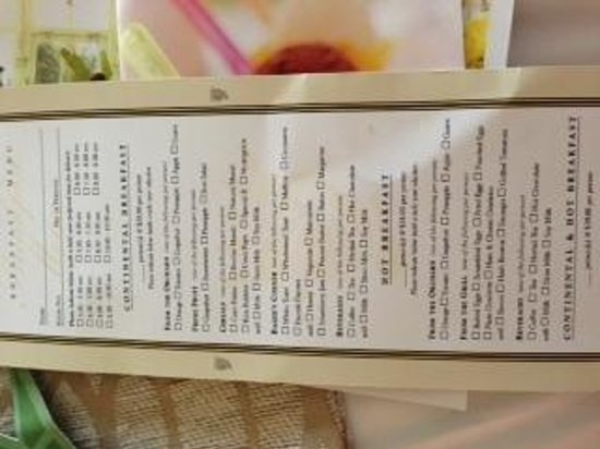 Stamford Plaza Room Service Menu