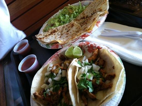 Los Habaneros: al pastor taco, and carne asada quesadilla plus 1 soda($.50/refil) = $18.50