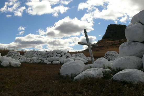 The site of Col. Durnford's lat stand, at Isandlwana, with the mountain in the background