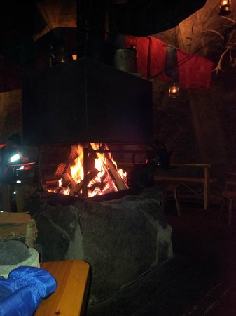 Santa Claus Village: Café with roaring fire and mulled wine