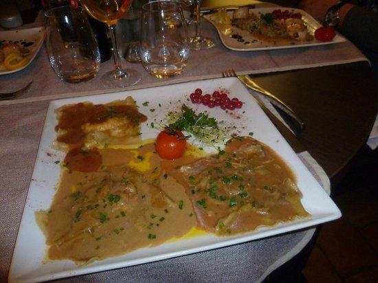 Restaurant Le 7e : trio de raviolis entre terre et mer