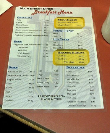 Tom's Main Street Diner: Menu of the Main Street Diner on September 8, 2012