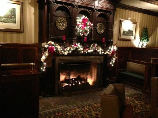 The English Inn of Charlottesville: The lobby area fireplace decorated for Christmas
