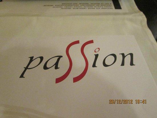Passion: the menu