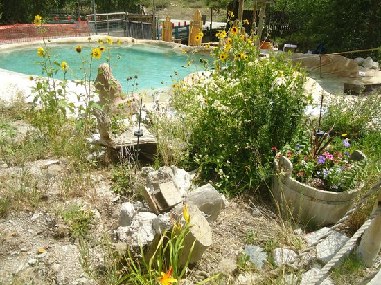 Cottonwood Hot Springs Inn & Spa: One of the pools and wildflowers