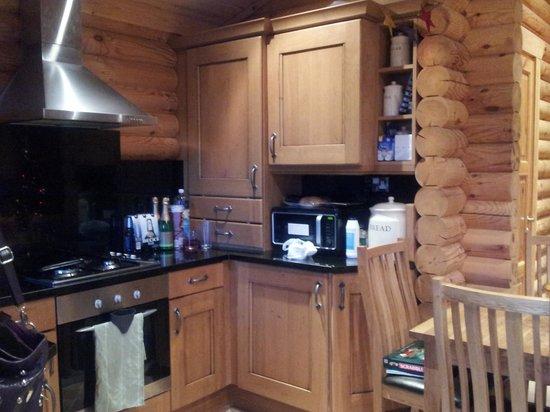 Felmoor Park: Kitchen area in log cabin