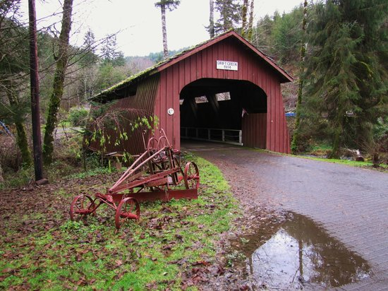 Drift Creek Covered Bridge: Bridge and farm implement