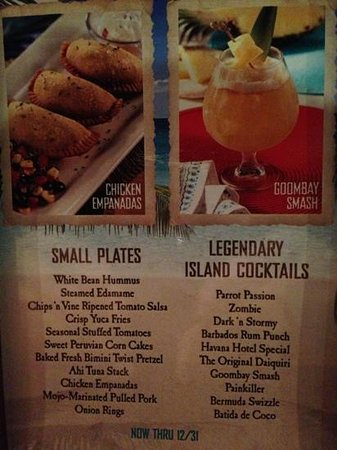 Bahama Breeze: small plates menu