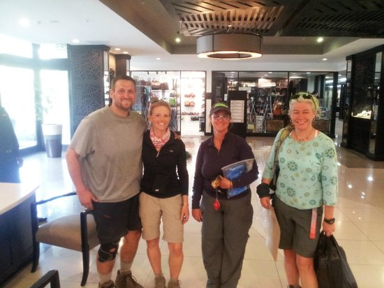 Mount Meru Hotel : View of our Mt. Kilimanjaro climbing group in the lobby - before showers!