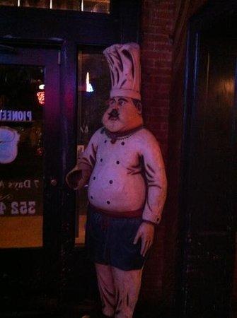Pioneer Pub: front door greeter!