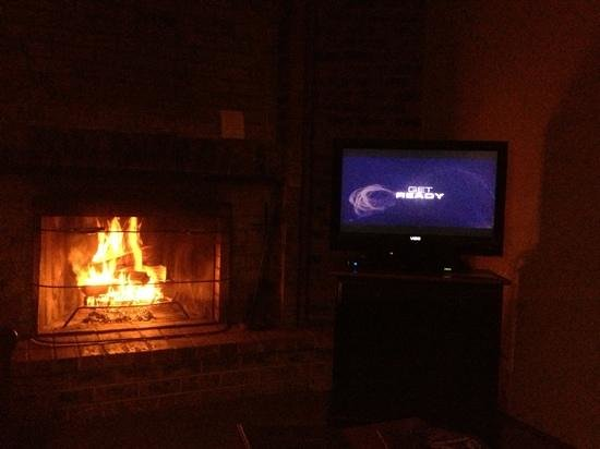 Alta Crystal Resort at Mount Rainier: Nice setup with fireplace and Dish TV.