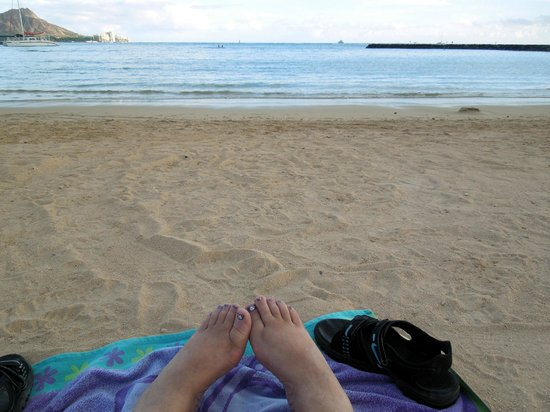 Ilikai Hotel & Luxury Suites: My toes in the sand on Waikiki beach.