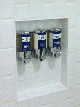 The Box House Hotel: Shampoo & Conditioner dispensers in shower