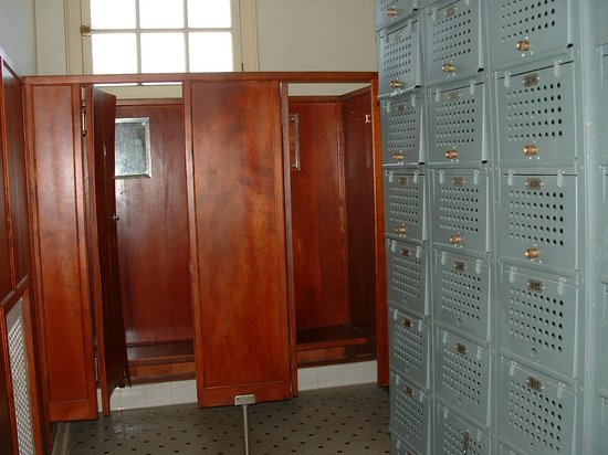 Fordyce Bathhouse (Vistor Center): Wood changing rooms and lockers