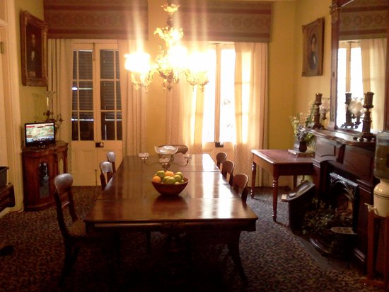 Lamothe House Hotel: attractive antique dining room, but no breakfast offered here.