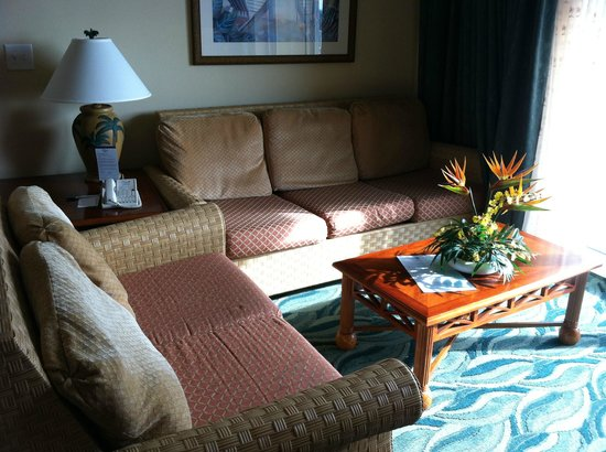 Westgate Myrtle Beach Oceanfront Resort : living room with private balcony