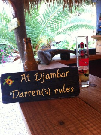 Djambo: Sign made for Darren by Ilse foir his birthday :-)