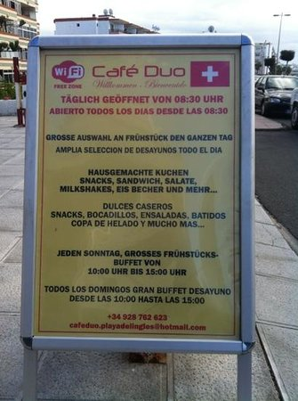 Cafe Duo: Café Duo, sign on the street