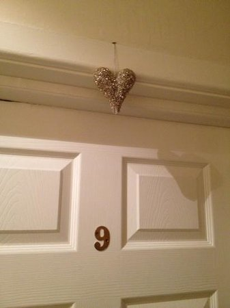 Inn at Whitewell: the gold heart above our room door :)
