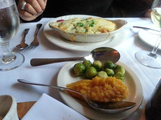 YE OLDE TAVERN: Chicken Pot Pie with Brussel Sprouts and Mashed Butternut Squash