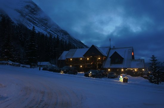 Truffle Pigs Lodge: The welcoming entrance to the Kicking Horse Lodge