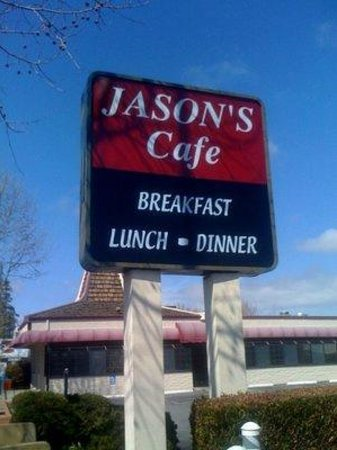 Jason's Cafe: Jason's sign on El Camino with bldg in back