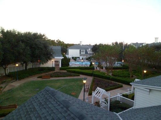 Disney's BoardWalk Inn: View of the garden and spa from our balcony