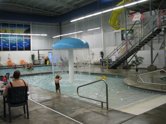 "Resort at Governor's Crossing: Indoor ""water park"" kiddie pool with adult pool behind."