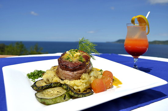 Jasmine's by the Sea: Signature Filet Mignon over Chateau Potatoes and Herbed Grilled Vegetables