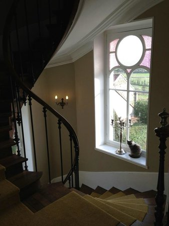 Chateau Les Roches: Stairs + the house cat!