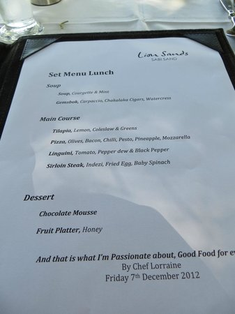 Lion Sands Ivory Lodge: lunch menu