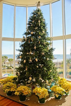 Hampton Inn & Suites Myrtle Beach/Oceanfront: Christmas tree in the foyer