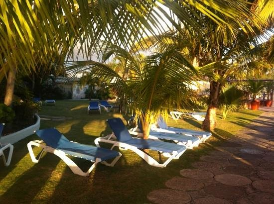 Barbados Beach Club: sun beds outside our apartment