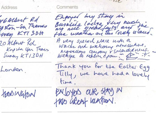 Burnside Lodge: Visitors book extract