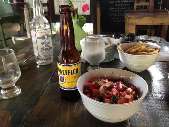 El Tábano: a delicious lunch, shrimp ceviche and a beer
