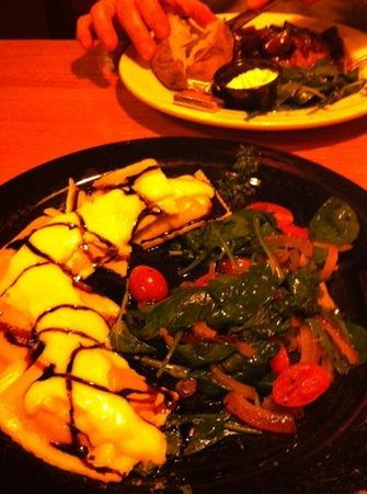 Fire & Ice: Scrumptious ravioli special with sautéed spinach