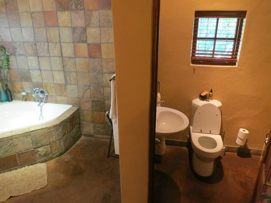 Elephant Plains Game Lodge: Bathroom in a rondawel
