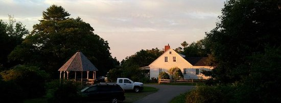 Harborfields : First rays of morning sunlight hitting the 1780 Farmhouse