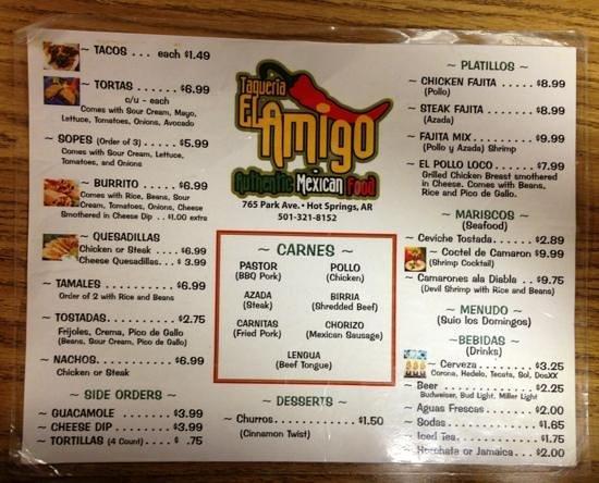 Taqueria El Amigo: menu