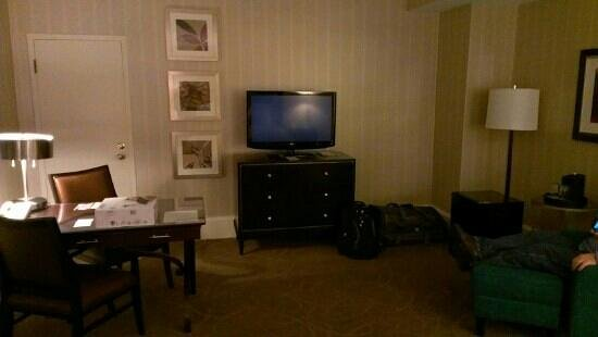 Renaissance Cleveland Hotel: TV and living area is spacious but the TV is a little far from the bed.