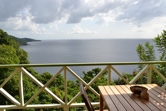 Mango Bay Cottages: Private veranda with stunning view of Caribbean