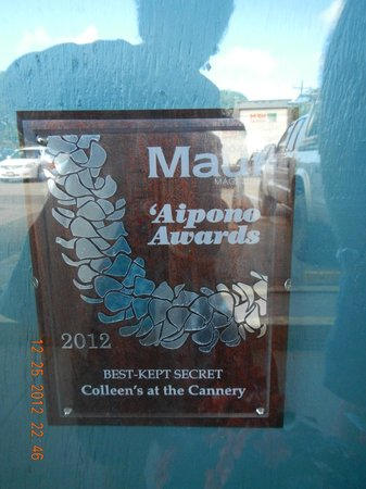 Colleen's at the Cannery: award winning