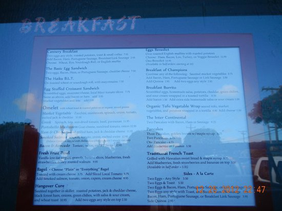 Colleen's at the Cannery: breakfast menu