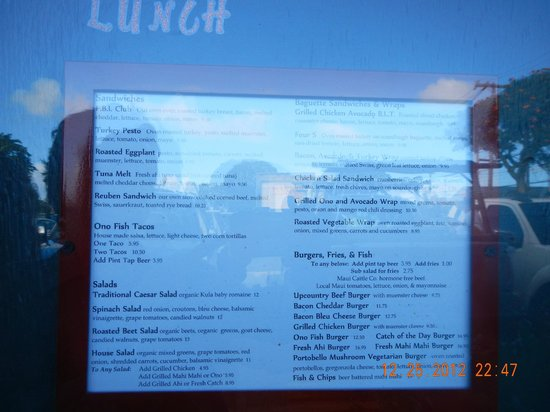 Colleen's at the Cannery: lunch menu