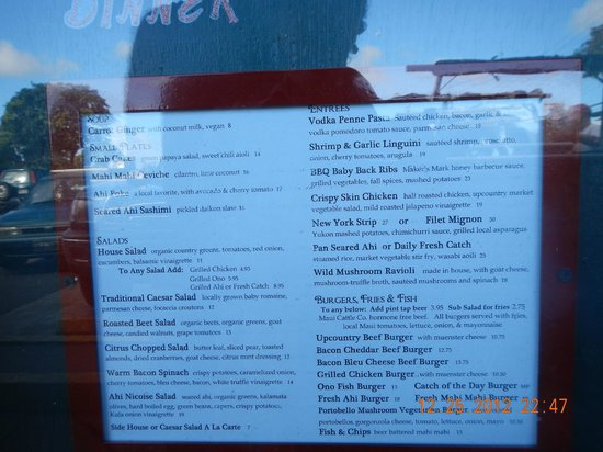 Colleen's at the Cannery: dinner menu