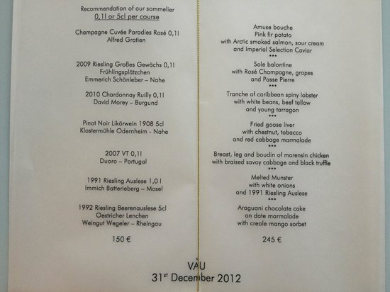 Restaurant Vau: New Year Eve Menu