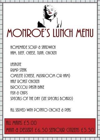Monroe's Restaurant: Lunch Menu
