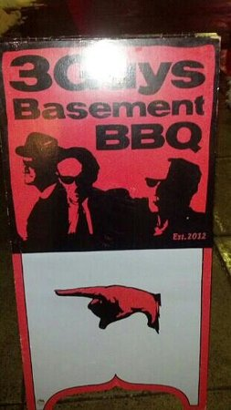 3 Guys Basement BBQ: the sign to look for!