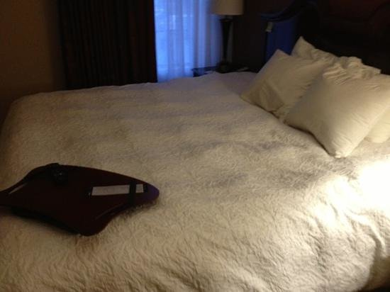 Hampton Inn Helen: this is what the bed looked like when we walked in the room .