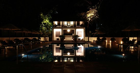 Rachamankha: The pool at night.